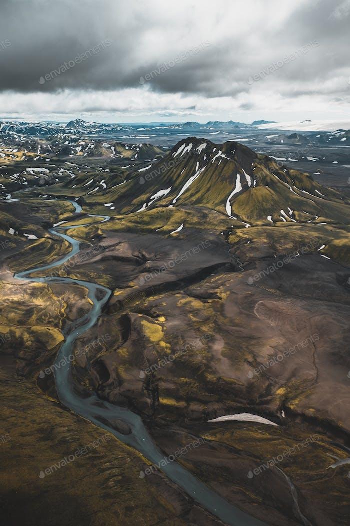 Flying over Iceland Highlands