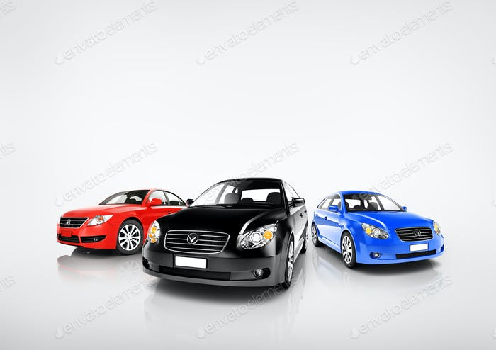 Collection of Multi Colored Modern Cars