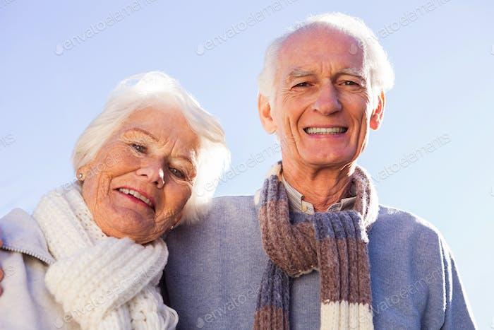 Portrait of senior couple embracing