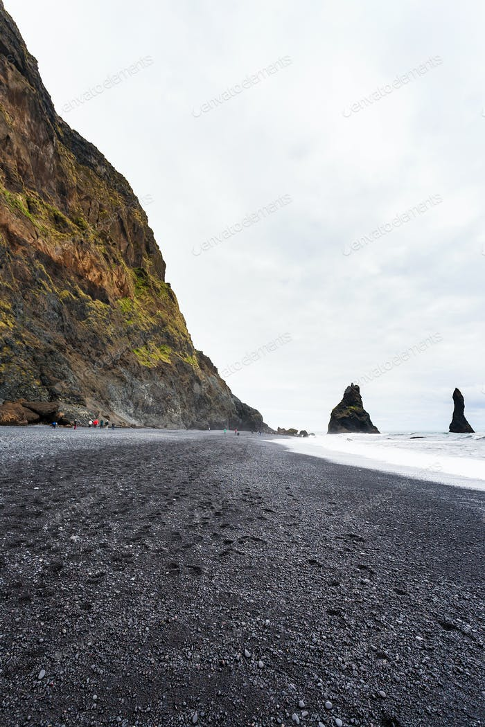 Reynisfjara Beach with Reynisdrangar mountains