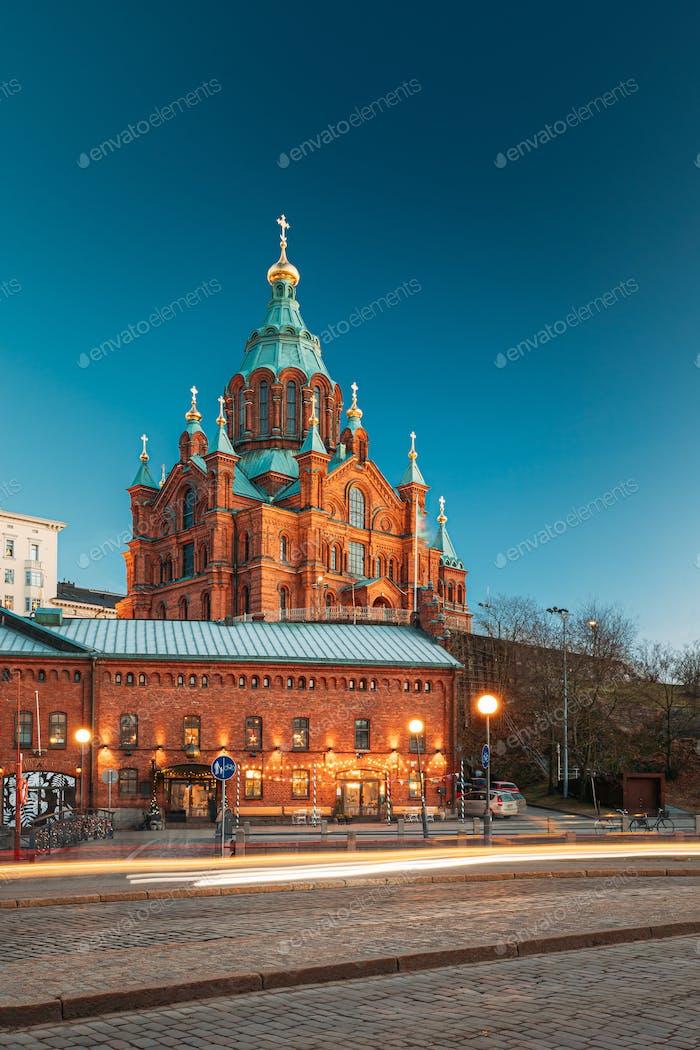 Helsinki, Finland. Uspenski Cathedral In Evening Illuminations Lights. Eastern Orthodox Cathedral