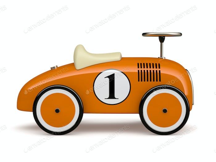 Orange retro toy car number one isolated on white background