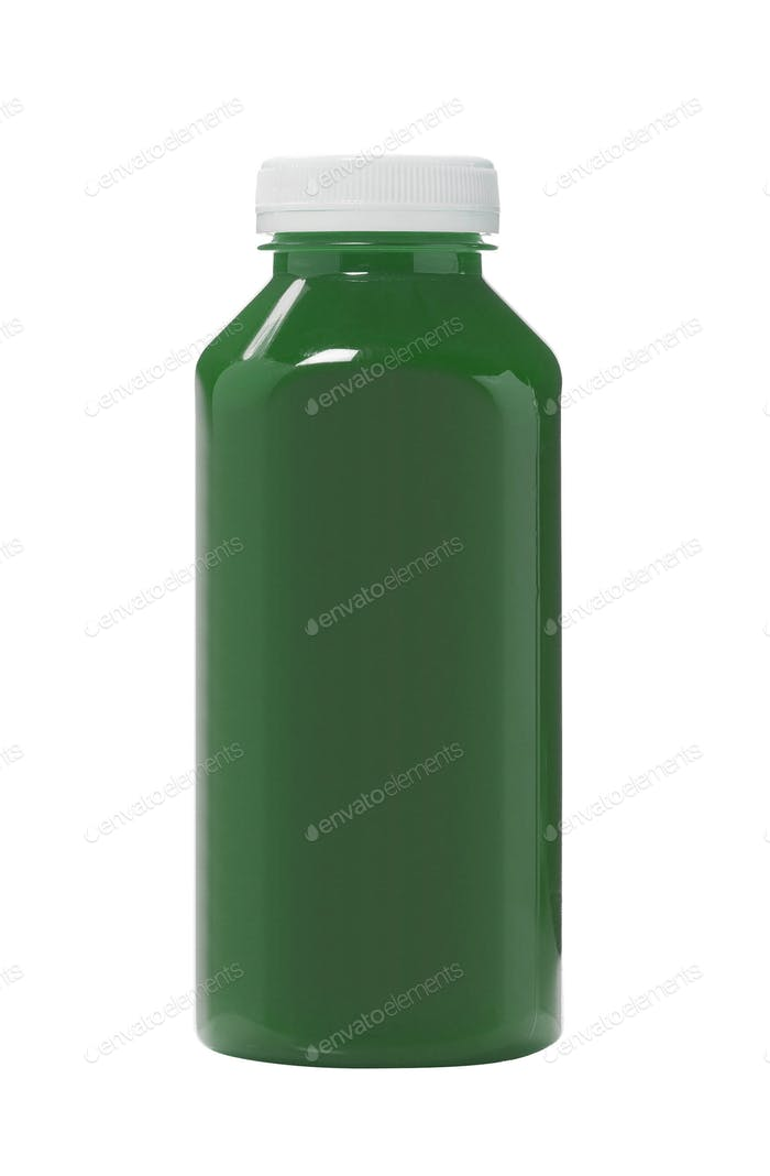 Bottled green water color isolated on white