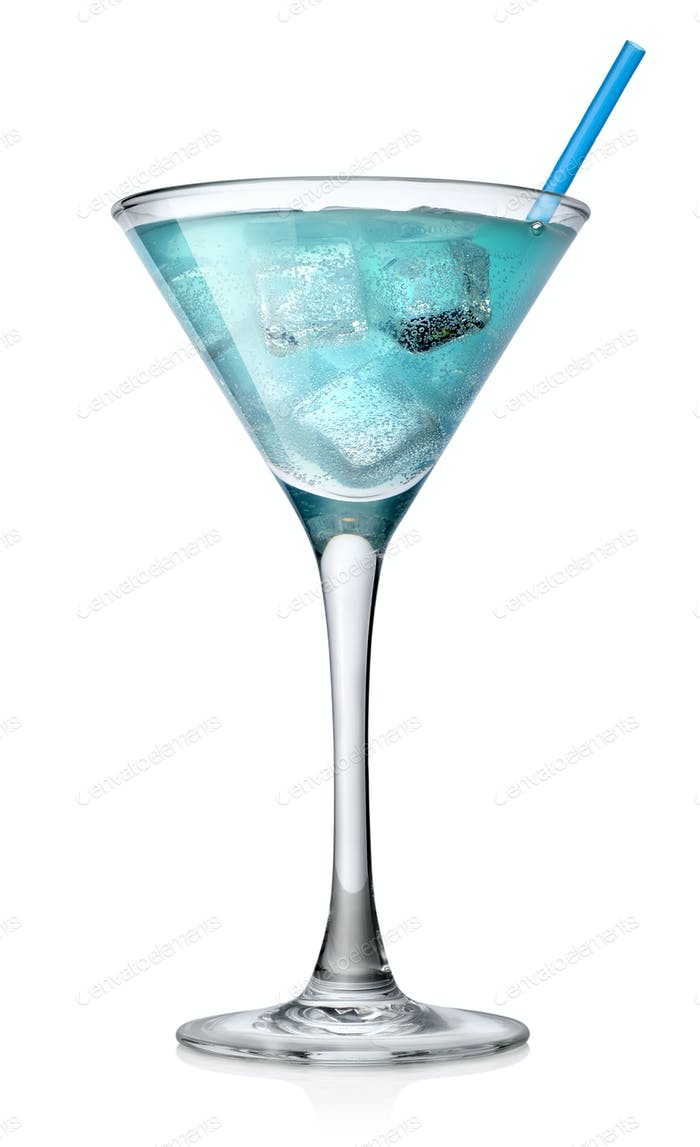 Blue cocktail in a high glass