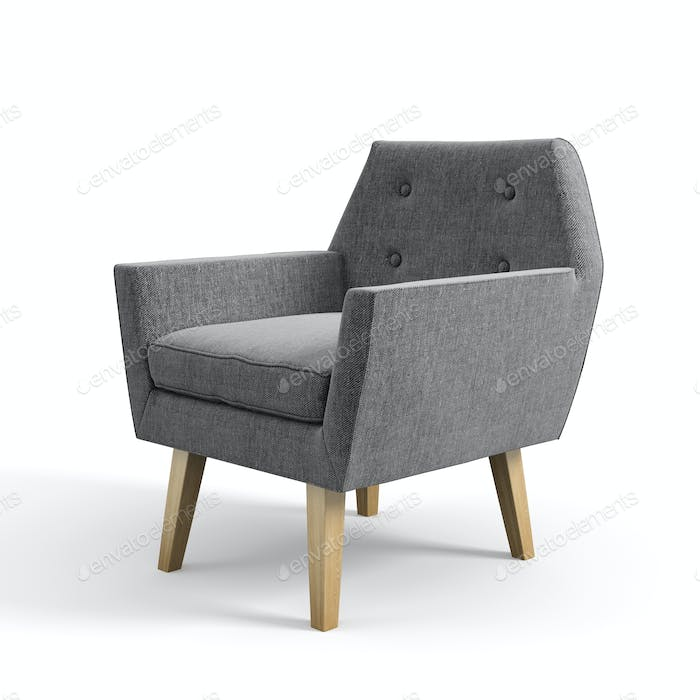 Armchair isolated on white background 3D rendering