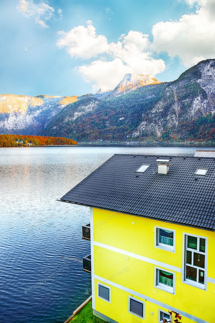 Modern house on the coast of lake in Hallstatt village Austrian