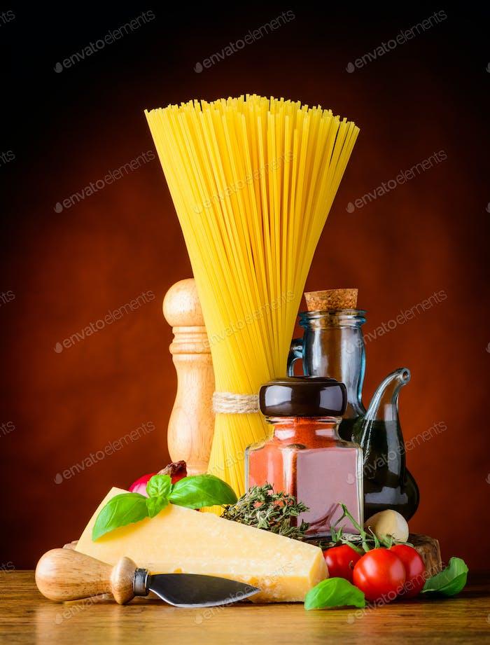 Italian Cuisine Spaghetti and Parmesan Cheese