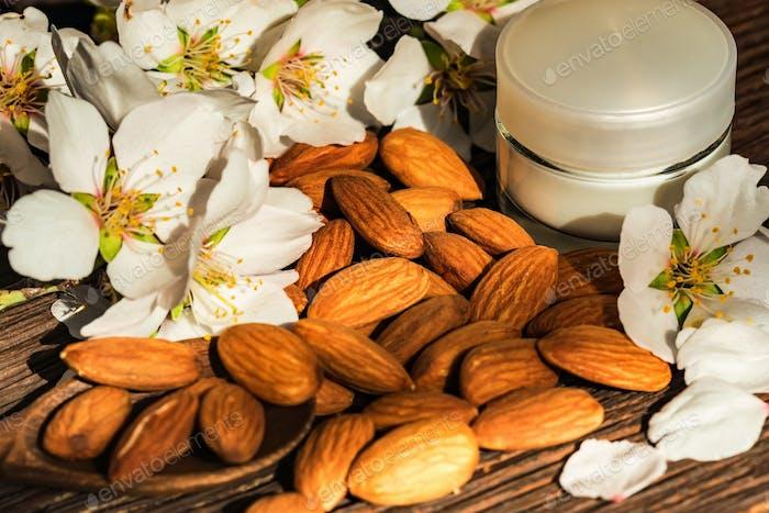 Almonds, cream and white flowers, dark background