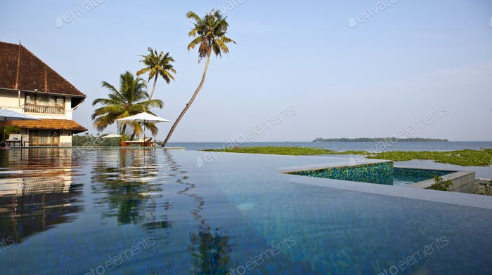 A view across calm backwaters of Kerala.