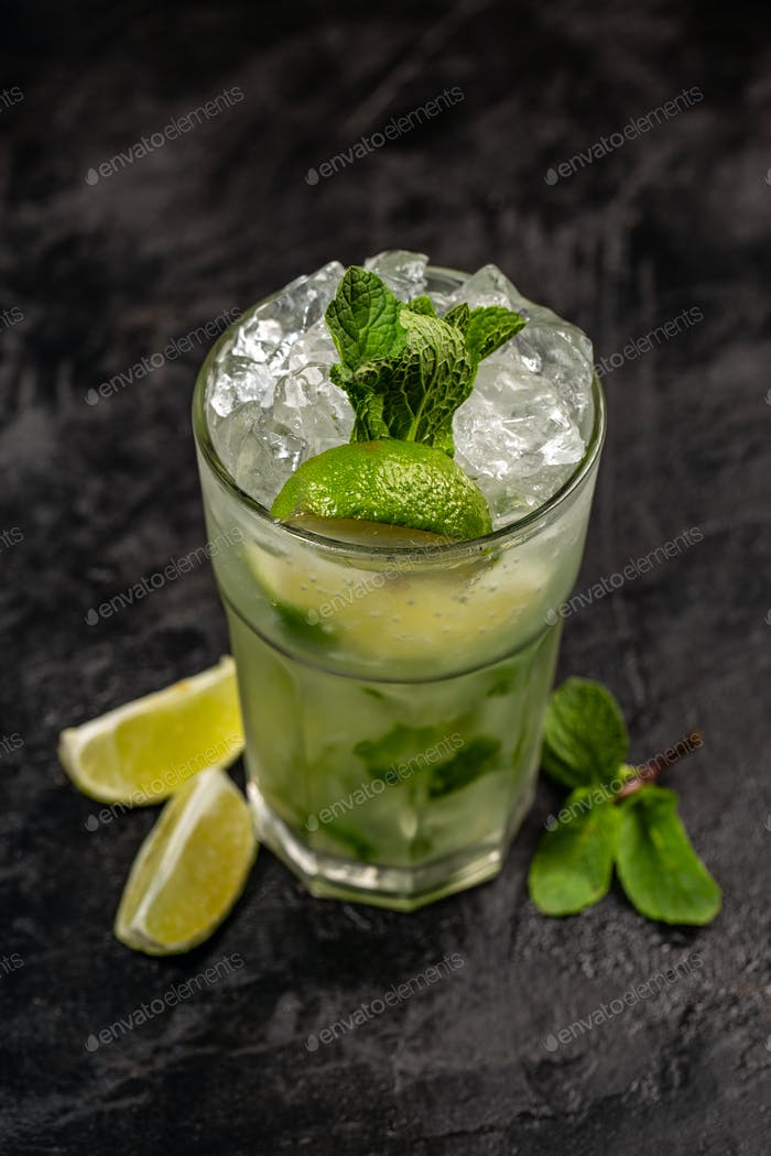 Refreshing mint cocktail mojito