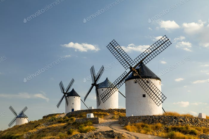Windmills at sunset in Consuegra, Castile-La Mancha, Spain