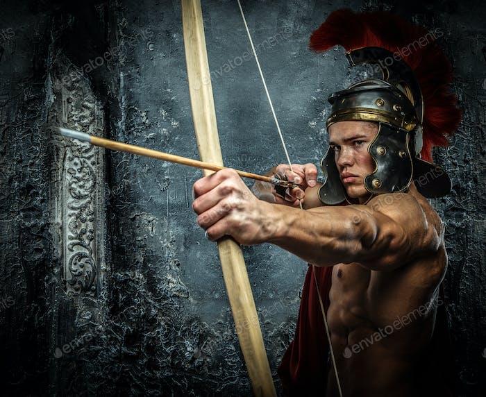 Young man in Roman armor.