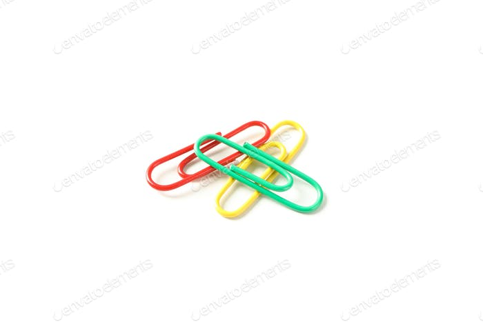Color paper clips isolated on white background