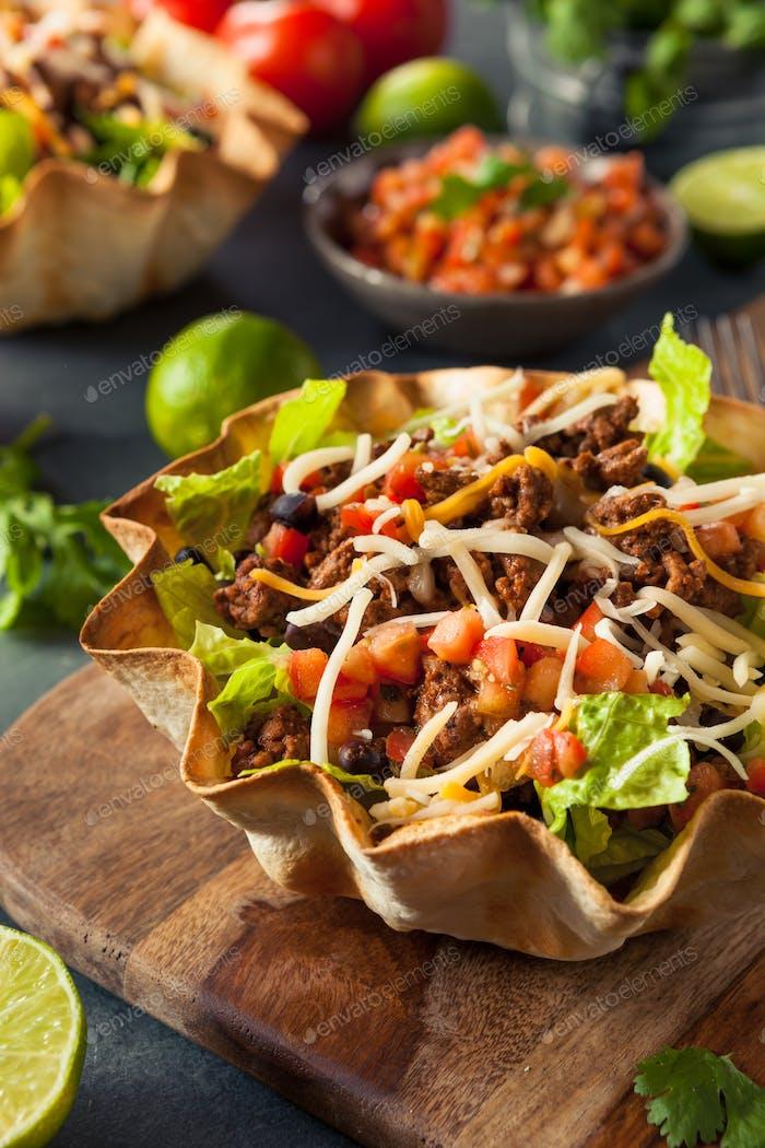 Taco Salad in a Tortilla Bowl