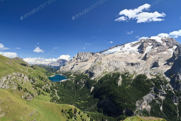 Fedaia lake and Mount Marmolada