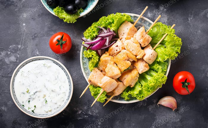 Traditional greek meat skewers souvlaki