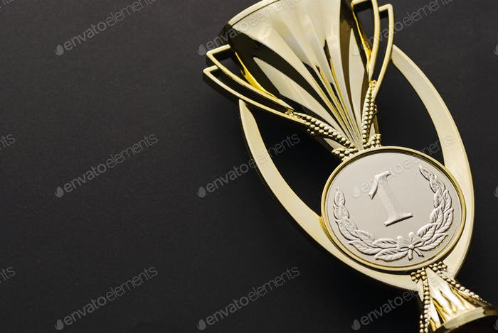 Number one textured gold winners trophy