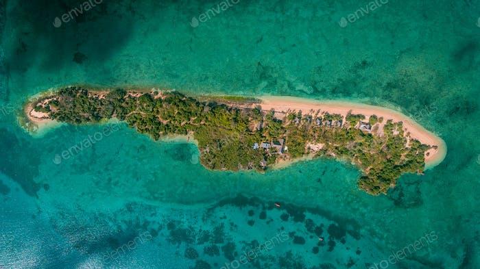 Luftaufnahme der Chapwani-Insel in Sansibar