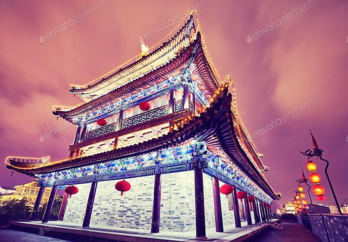 Thumbnail for Xian city wall ancient building at night, China.