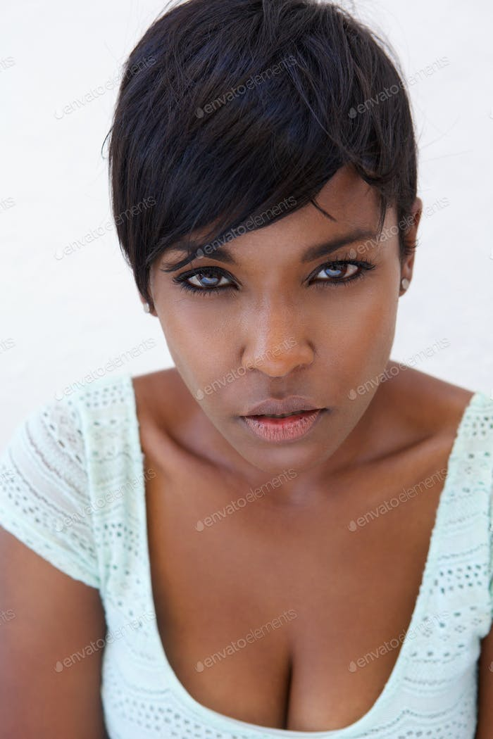 Close up attractive black female fashion model