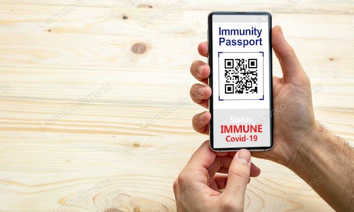 Immunitätspass, Coronavirus-Reise-Smartphone-Anwendung auf