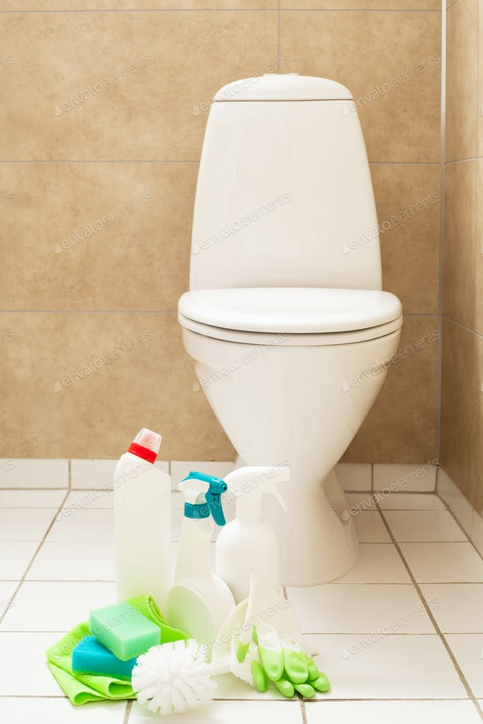 cleaning items gloves brush white toilet bowl bathroom