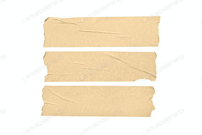 Set of blank tape stickers isolated on white background