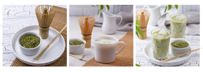 Matcha powder, latte with milk and cold drink