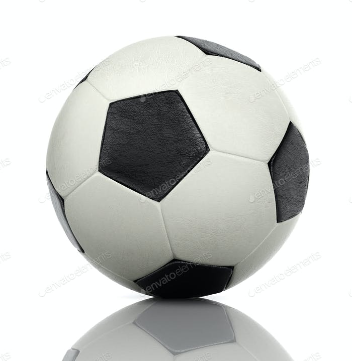 3D rendering of a classic soccer black-white ball