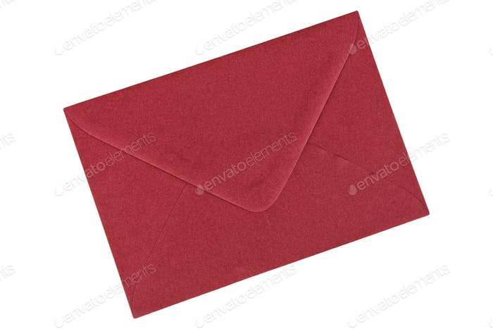 Dark red envelope on a white background