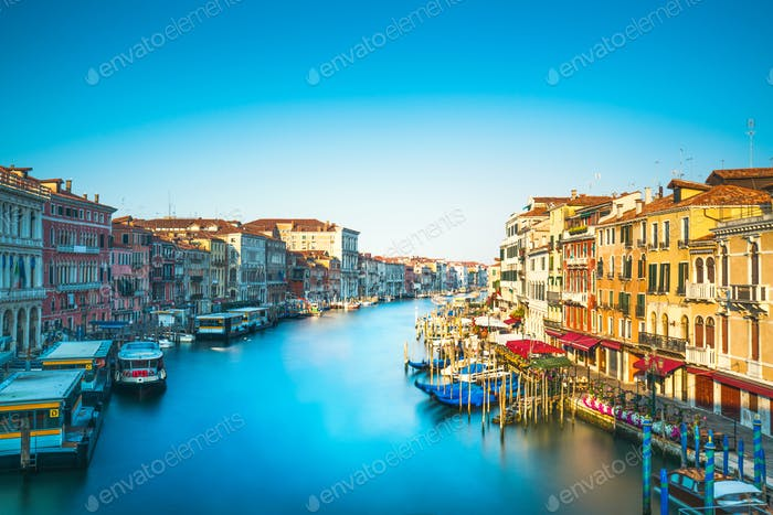 Venice grand canal or Canal Grande long exposure, view from Rial