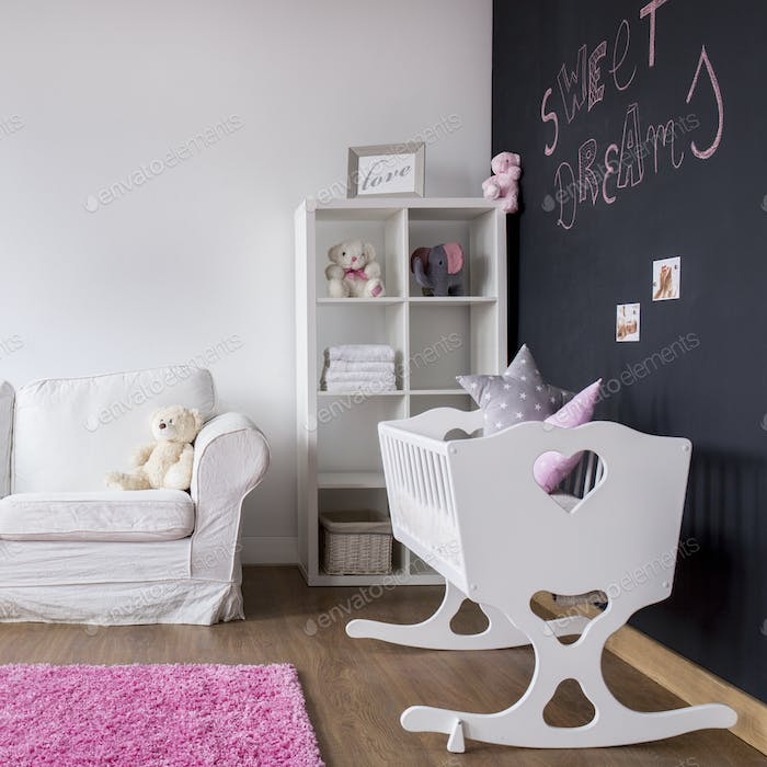 Modern baby room with cradle