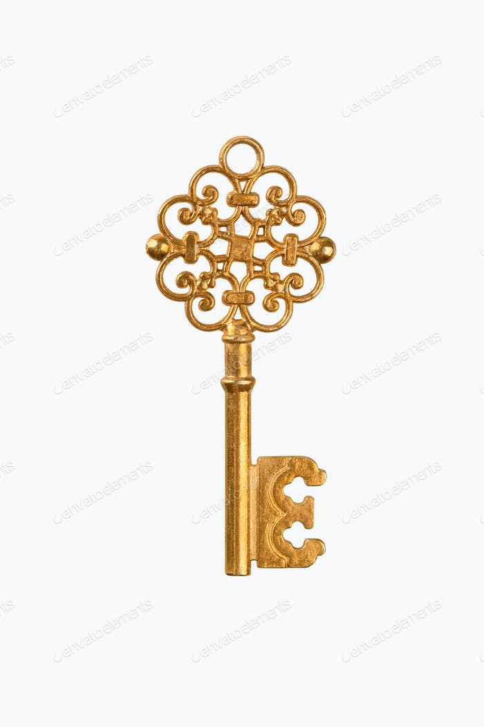 a golden key isolated