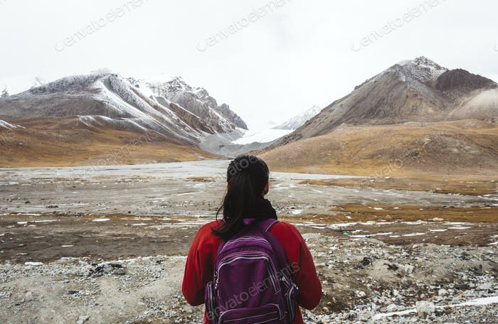Female traveler in the Himalaya mountains