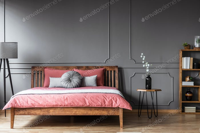 Grey and pink feminine bedroom