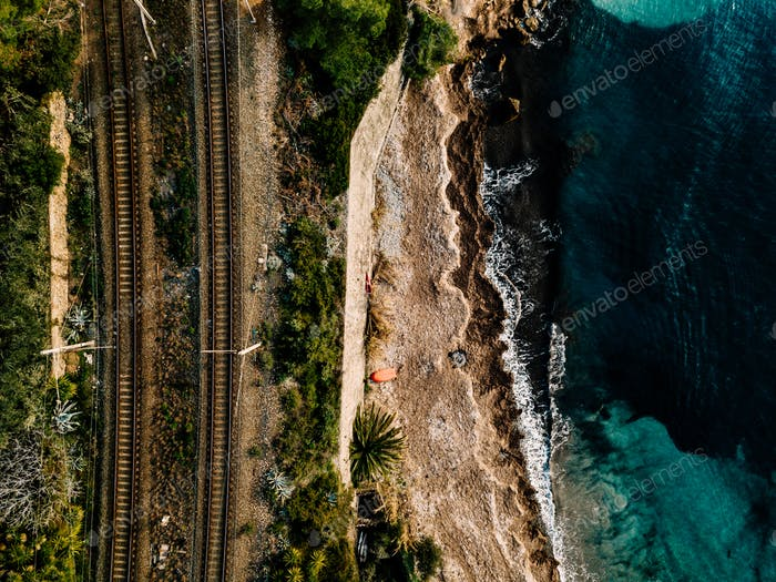 Aerial view of the railway along the sea coast in Italy