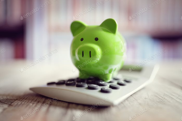 Piggy bank with calculator