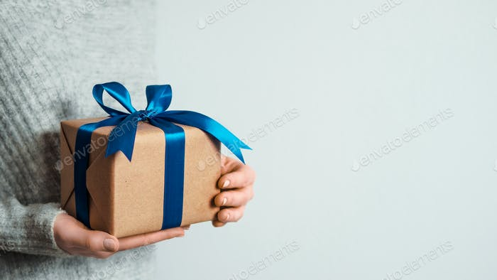 Female hands hold gift box, copy space right