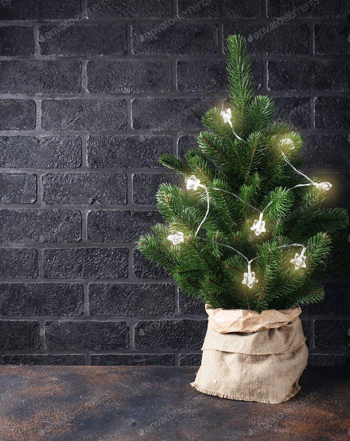 Christmas tree with garland light