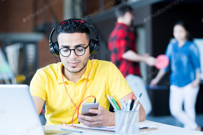 Contemporary Middle-Eastern Man Working in Office