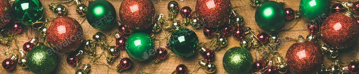 Christmas tree decoration balls on wooden background. New year mood