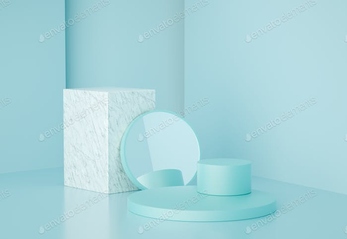 3d render modern geometric shapes with marble and mirror, for product presentation