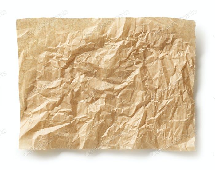 crumpled brown baking paper sheet