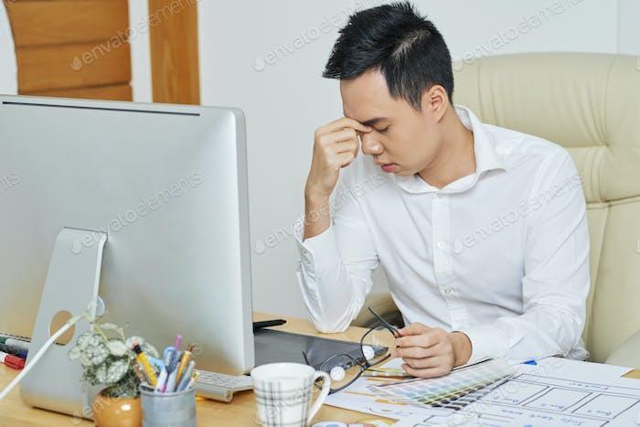 Stressed Tired Graphic Designer