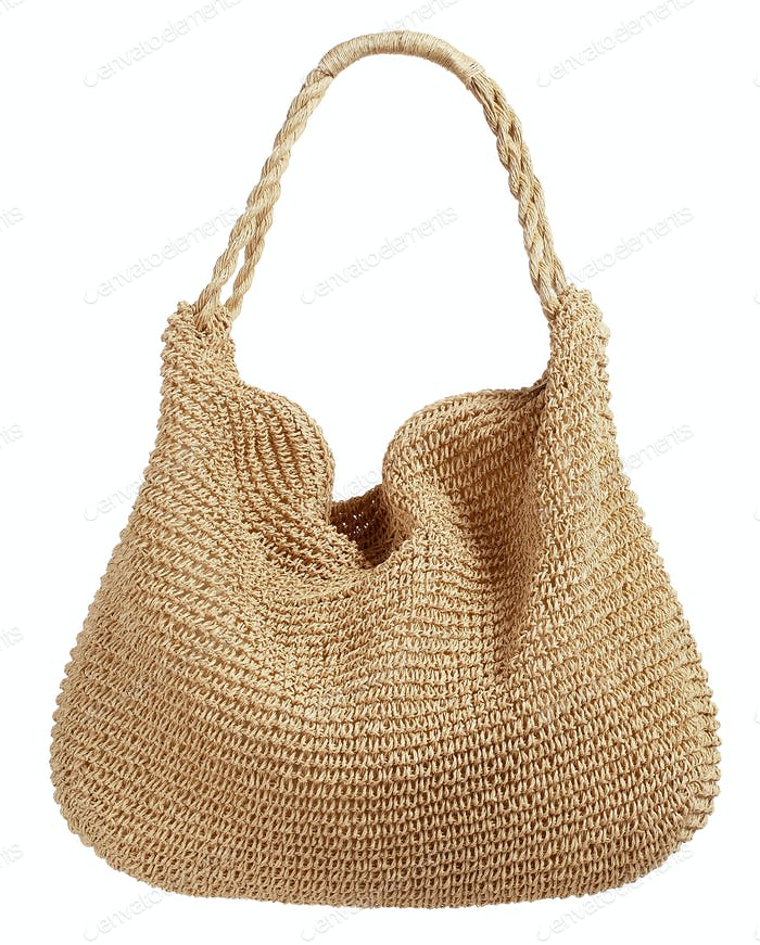 Natural fiber corded ladies handbag
