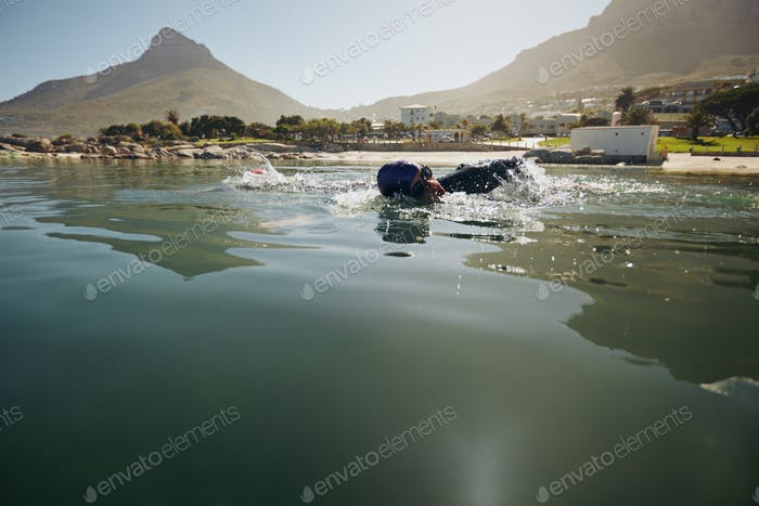 Athlete practicing for the triathlon