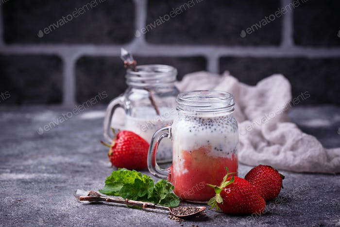 Dessert with strawberry and chia seeds