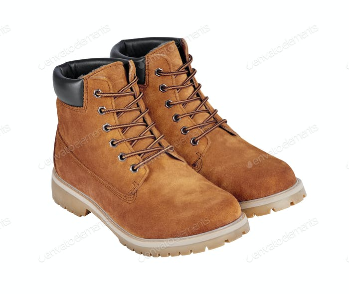 Brown leather safety boots