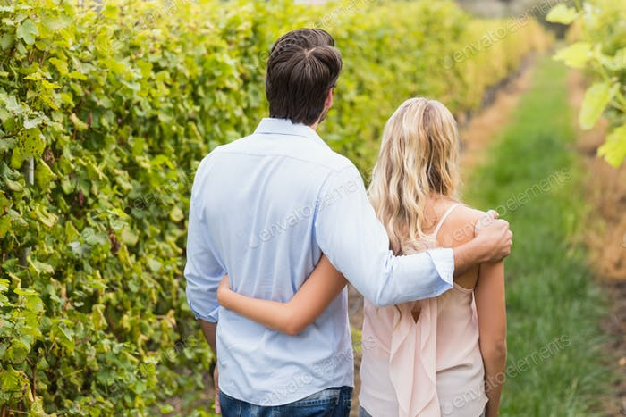 Young happy couple having an arm around each other in the grape fields