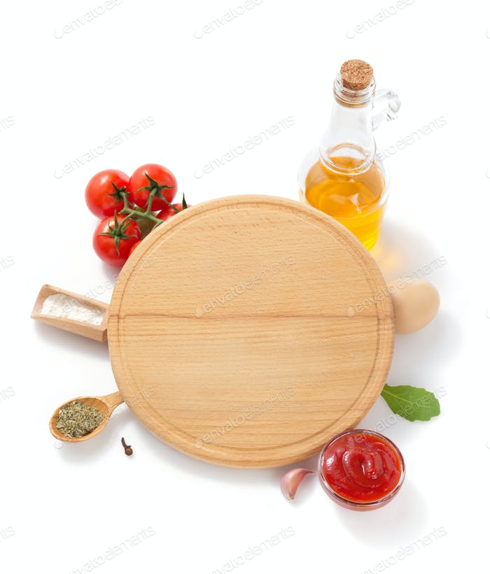 pizza cutting board with  ingredient